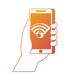 hand holding smartphone with wifi internet vector image