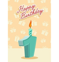 Happy birthday card with 1th birthday vector image