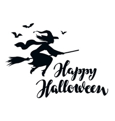 Happy Halloween Silhouette young witch flying on vector