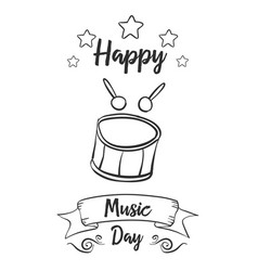 happy music day hand draw card style vector image