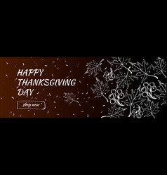 happy thanksgiving day sale banner with doodle vector image
