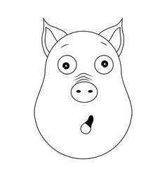 head of amazed pig in outline style kawaii animal vector image