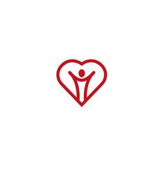 heart person healthy open hands icon logo vector image