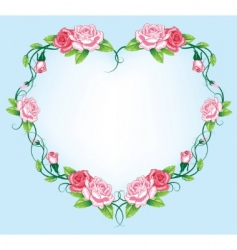 heart roses border vector image