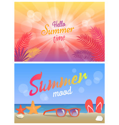 hello summer party summertime mood posters set vector image