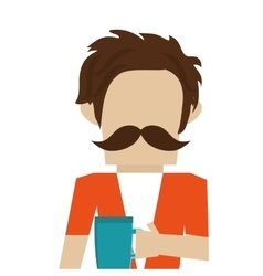 hipster man with mustache vector image