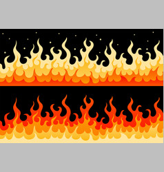 hot fiery wall of fire flame safety sign border vector image