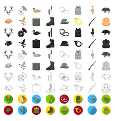 hunting and trophy cartoon icons in set collection vector image