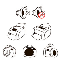 Icons set collection printer mfp vector