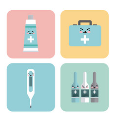 kawaii medicine icons vector image