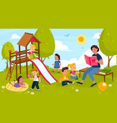 kids playing outdoor cheerful preschool children vector image
