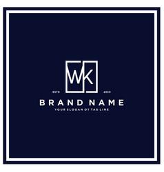 Letter wk square logo design concept vector