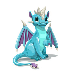 Little cute cartoon blue dragon isolated on white vector