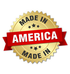 made in america gold badge with red ribbon vector image vector image