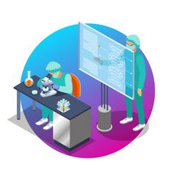 Microbiology isometric emblem vector
