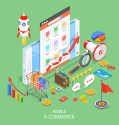 mobile advertising flat isometric concept vector image