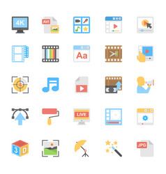 Multimedia flat colored icons 8 vector