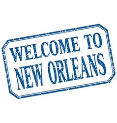 New Orleans - welcome blue vintage isolated label vector