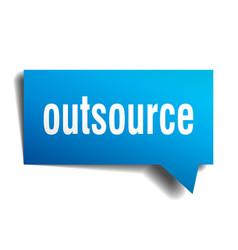 Outsource blue 3d speech bubble vector