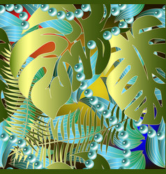 Palm leaves colorful tropical seamless pattern vector