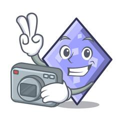 photographer rhombus mascot cartoon style vector image