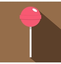 Pink lollipop icon flat style vector image