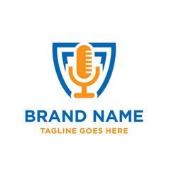 radio microphone logo design vector image