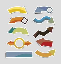 retro paper arrow stickers with shadows vector image