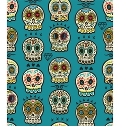 Seamless pattern with sugar skulls Mexican Day of vector
