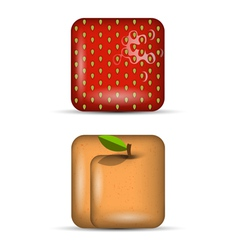 set 4 app icons fruits vector image