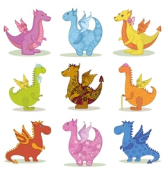 Set cartoon Dragons vector