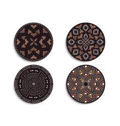 Set of african circular ornaments tribal print vector