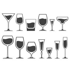 set of icons of wineglasses and glasses vector image