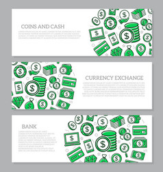 set of three digital money and bank horizontal vector image