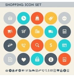 Shopping icon set Multicolored square flat vector image