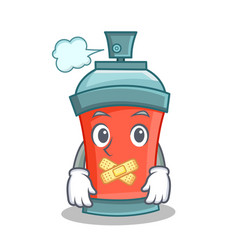Silent aerosol spray can character cartoon vector