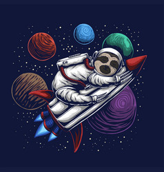 Sloth astronaut vector