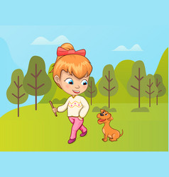 Small girl walking dog in park forest with trees vector