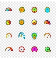 Speedometer icons set pop-art style vector