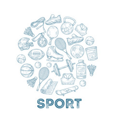 sports equipment background sketch medal vector image