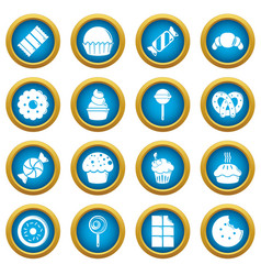 sweets candy cakes icons set simple style vector image