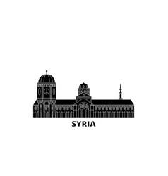 Syria flat travel skyline set syria black city vector
