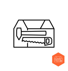 toolbox icon simple line style wooden box vector image