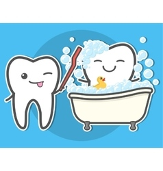 Tooth brushing toth in the bath vector image
