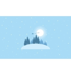Train Santa on the sky landscape vector image