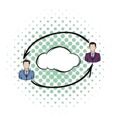 Two men exchange information icon vector