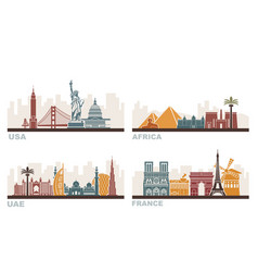 Usa france uae and africa architectural vector