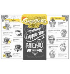 Vintage holiday christmas menu design vector