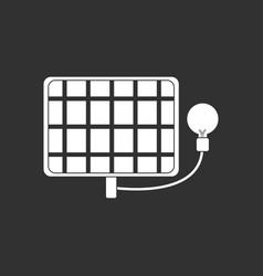 White icon on black background solar battery vector