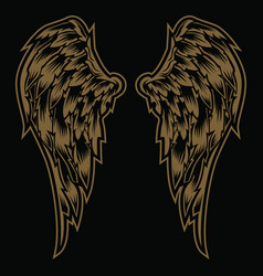 wings bird feather gold vintage black amp white vector image